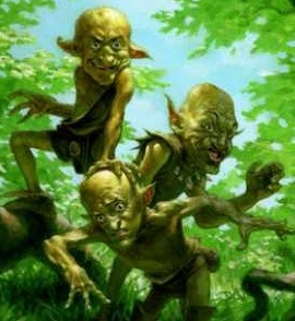the goblins hid under the bushes