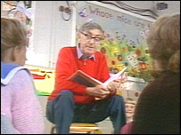Charles Causley reading to children,